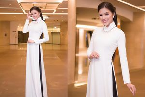 Nguyễn Thị Thành diện áo dài rạng ngời chấm thi nhan sắc ở Hàn Quốc