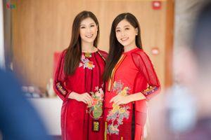 Á hậu Phương Nga 'quảng bá' áo dài thổ cẩm cách tân
