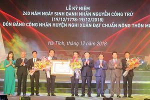Trao bằng công nhận đạt chuẩn huyện nông thôn mới cho huyện Nghi Xuân tỉnh Hà Tĩnh