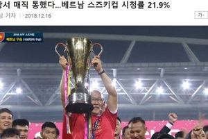 Chung kết AFF Cup đạt kỷ lục rating chưa từng có trong lịch sử phát sóng Hàn Quốc