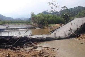 Xôn xao hình ảnh cây cầu đang xây thì đổ sập ở Yên Bái