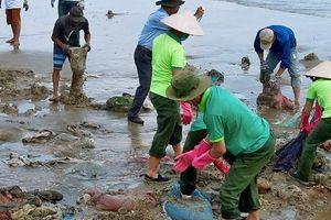 Bình Thuận kiến nghị xử lý dầu vón cục trôi dạt vào bờ biển