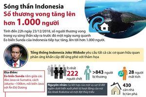 Sóng thần Indonesia: Số thương vong lên hơn 1.000 người