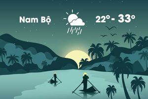 Thời tiết ngày 26/12: Nam Bộ mưa dông, gió mạnh vào chiều tối