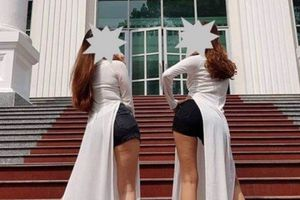 Xem xét kỷ luật 2 nữ sinh sư phạm mặc áo dài với quần đùi