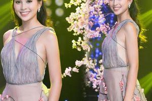 Hoa hậu Tiểu Vy diện váy hoa đào, hát mừng năm mới