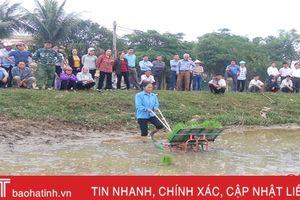 'Mục sở thị' máy cấy trên đồng ruộng Can Lộc