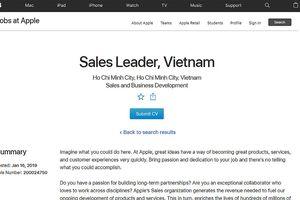 Apple tuyển Giám đốc Kinh doanh tại Việt Nam, sắp mở Apple Store?