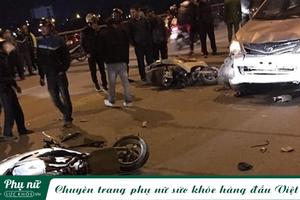 Xe 'điên' mất lái, lao cực nhanh tông 4 người nằm la liệt giữa đường