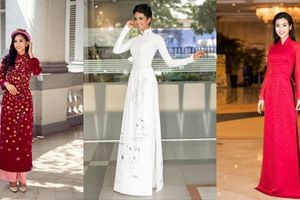 Ngắm những hình ảnh hoa hậu Việt diện áo dài cực kỳ duyên dáng
