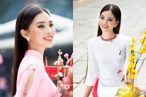 Hoa hậu Tiểu Vy thướt tha trong tà áo dài đón Tết