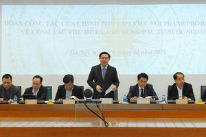Phó Thủ tướng Vương Đình Huệ làm việc với Hà Nội về công tác thu hút và sử dụng FDI