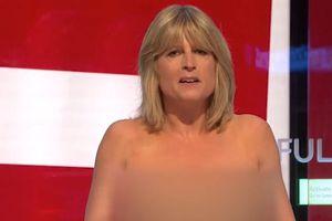 Nhà báo Anh cởi áo trên sóng truyền hình gây sốc