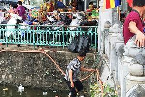 Cận cảnh rùa, cá vàng bị vợt ngay sau phóng sinh ở chùa Trấn Quốc