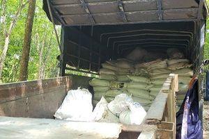 100 tấn bùn thải đổ trộm ra rừng cao su tại Bình Dương