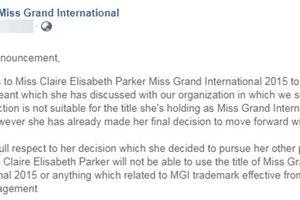Hoa hậu Hòa bình Quốc tế bị tước danh hiệu vì bất chấp đi thi tìm đường cạnh tranh với Hoàng Thùy