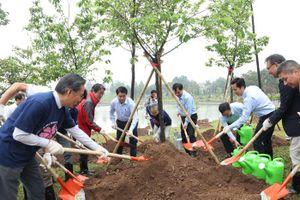 Chủ tịch Nguyễn Đức Chung trồng hoa anh đào tại Công viên Hòa Bình