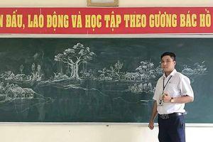 Tranh vẽ bằng phấn trắng trên bảng đen của thầy giáo Thanh Hóa gây 'bão mạng'