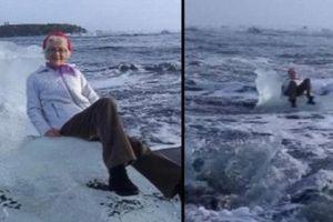 Ngồi trên tảng băng tạo dáng, cụ bà bất ngờ bị sóng đánh dạt ra biển