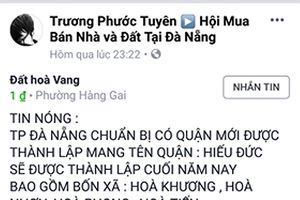 Đà Nẵng phủ nhận tin đồn tách huyện Hòa Vang thành 2 đơn vị hành chính mới