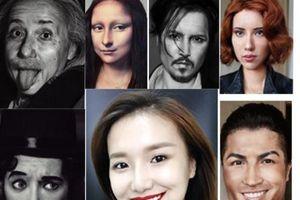 Ngỡ ngàng nữ blogger biến hình thành Cristiano Ronaldo, Johnny Depp
