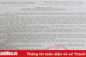 Cho thôi giữ các chức vụ trong Đảng đối với Chủ tịch Ủy ban Mặt trận Tổ quốc thị trấn Lang Chánh