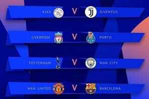 Bốc thăm tứ kết Champions League: M.U đụng Barcelona, Man City đại chiến Tottenham