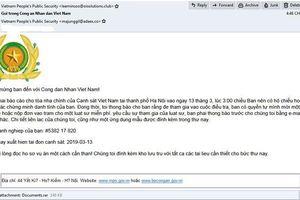 Mã độc GandCrab 5.2 lan rộng ở Việt Nam qua email giả mạo Bộ Công an