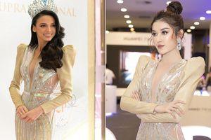 Huyền My 'đụng hàng' váy xẻ táo bạo với Hoa hậu Siêu quốc gia 2018