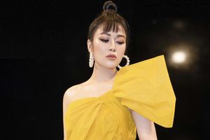 Hoa hậu Tuyết Nga rực rỡ với đầm vàng gợi cảm