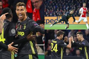 Cristiano Ronaldo ăn mừng 'quá khích' sau cú đánh đầu tung lưới Ajax