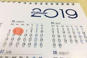 Băn khoăn về việc đúng, sai của lịch 2019