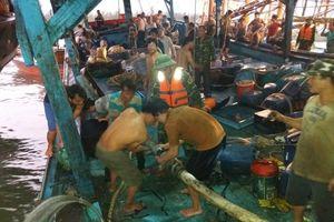 Tàu câu mực chở theo 51 ngư dân va vào bãi đá ngầm