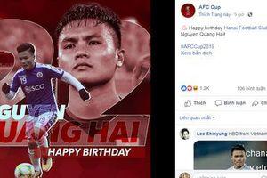AFC chúc mừng sinh nhật tiền vệ Quang Hải