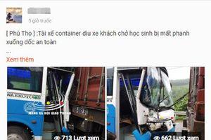 Phú Thọ: Thực hư chuyện xe container 'dìu' xe chở học sinh bị mất phanh xuống dốc an toàn