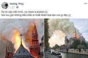 Nhà thờ Đức Bà Paris cháy lớn: Hoàng Thùy, Hứa Vĩ Văn cùng dàn sao Việt bàng hoàng trước mất mát