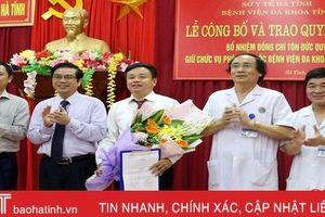 Bệnh viện Đa khoa Hà Tĩnh có Phó Giám đốc mới