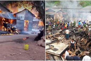 Cháy gần khu chợ Sìn Hồ - Lai Châu, 6 nhà dân bị thiêu rụi