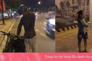 Ông bố nghèo dắt chiếc xe cà tàng vừa đi vừa khóc và hành động bất ngờ từ cô gái lạ