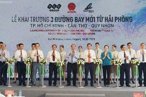 Thủ tướng cắt băng khai trương 3 đường bay mới từ Hải Phòng