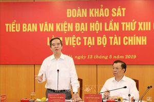 Đoàn Tiểu ban Văn kiện làm việc với Ban cán sự đảng Bộ Tài chính