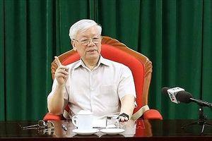 Tổng bí thư Nguyễn Phú Trọng chỉ đạo cuộc họp lãnh đạo chủ chốt ngày 14/5