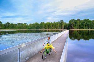 Ngắm con đường đạp xe xuyên qua hồ nước độc đáo ở Bỉ