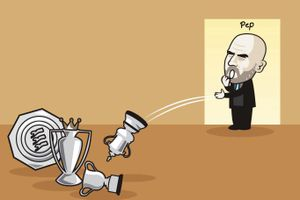 Biếm họa Pep Guardiola phát ngán vì liên tục giành danh hiệu ở Anh