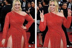Siêu mẫu ngoại cỡ Iskra Lawrence diện đầm xẻ cao 'bất tận' trên thảm đỏ Cannes