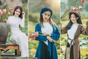 Thiếu nữ Hà thành nô nức khoe sắc cùng mùa sen nở