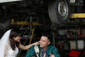 Lãng mạn bộ ảnh cưới chụp trong garage của cặp đôi ở Hải Dương