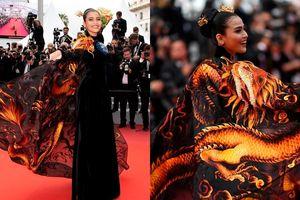 Trương Thị May diện áo dài thêu rồng trên thảm đỏ LHP Cannes