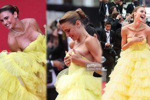 'Chân dài' Brazil gặp sự cố tụt váy, lộ ngực trên thảm đỏ LHP Cannes