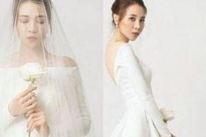 Đàm Thu Trang mặc váy cưới giản dị vẫn được khen đẹp tựa nữ thần